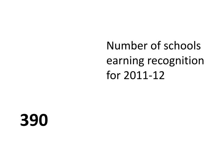 Number of schools earning recognition for 2011-12