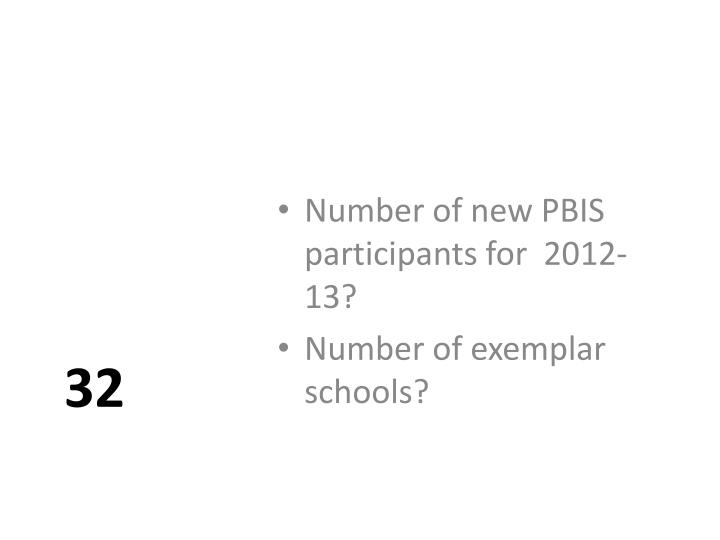 Number of new PBIS participants for  2012-13?
