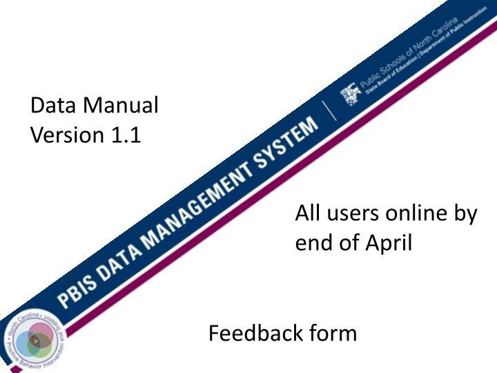 Data Manual Version 1.1