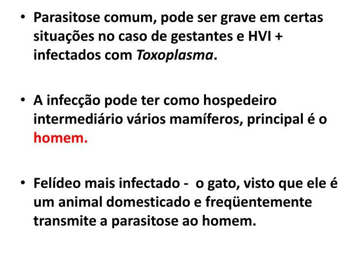 Parasitose comum, pode ser grave em certas situações no caso de gestantes e HVI + infectados com