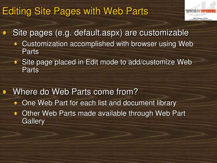 Editing Site Pages with Web Parts