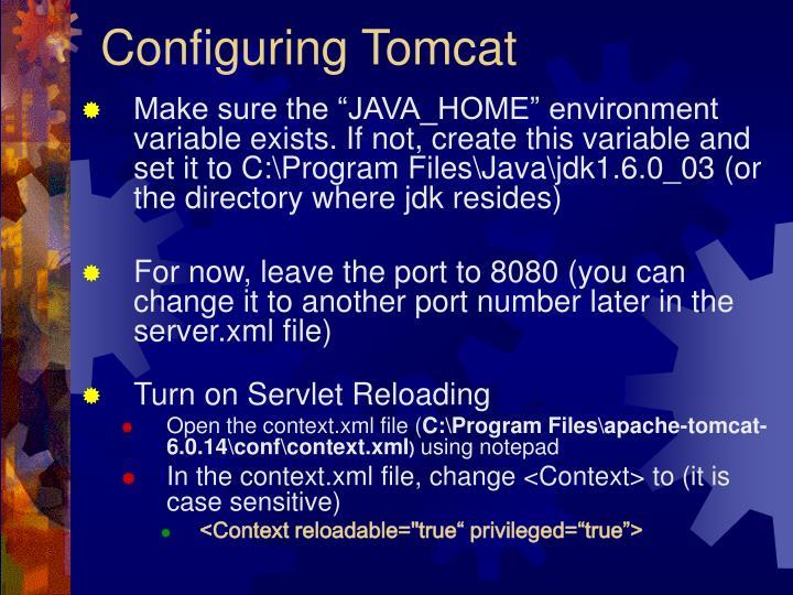 Configuring Tomcat