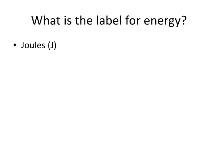 What is the label for energy?