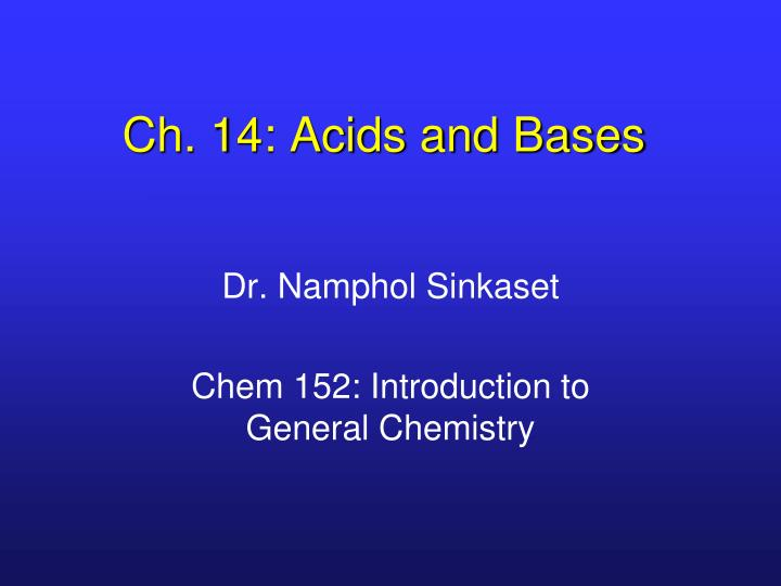 Ch 14 acids and bases