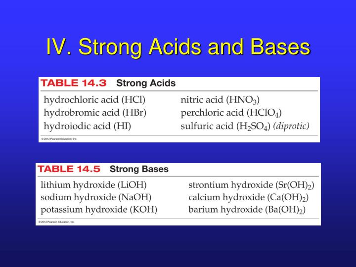 IV. Strong Acids and Bases