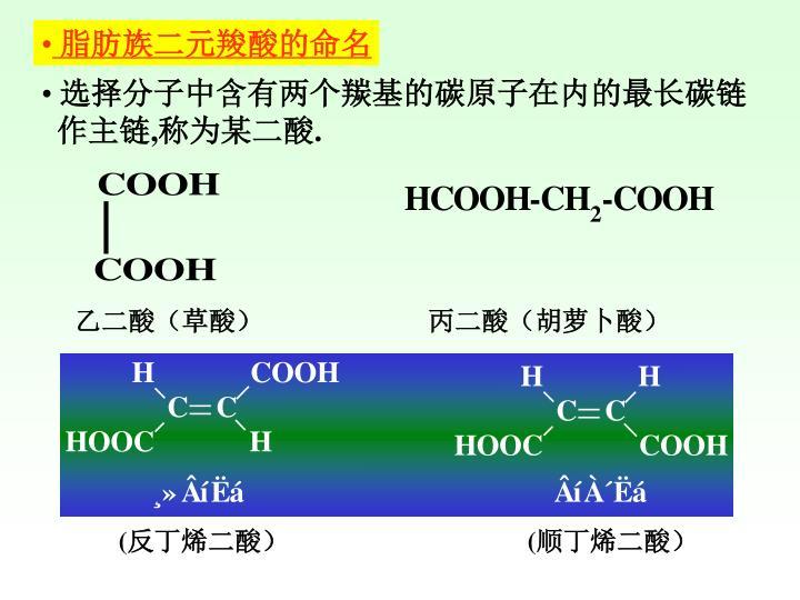 脂肪族二元羧酸的命名