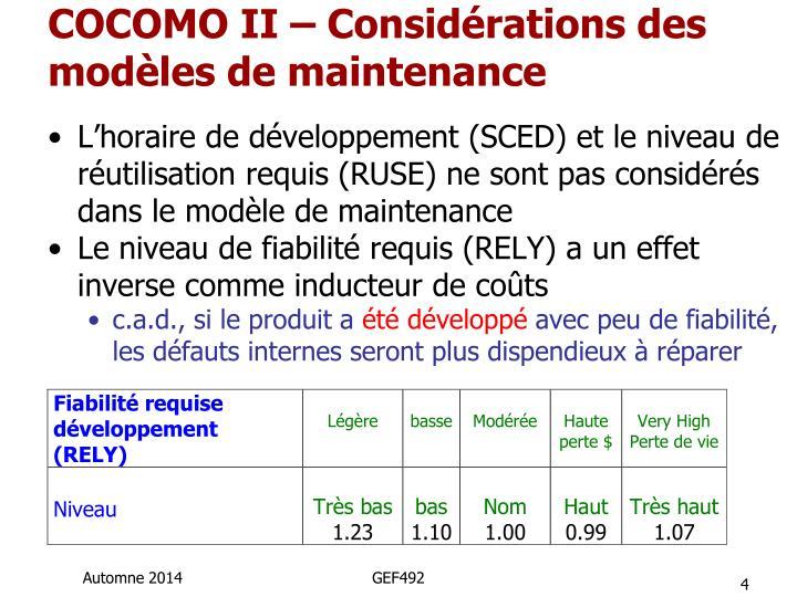 COCOMO II – Considérations des modèles de maintenance