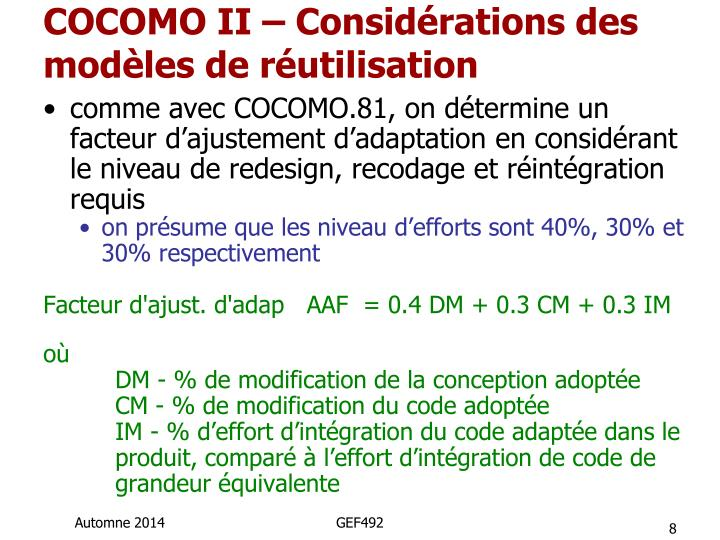 COCOMO II – Considérations des modèles de réutilisation