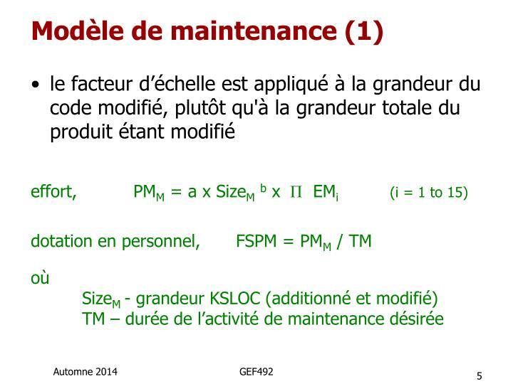 Modèle de maintenance (1)