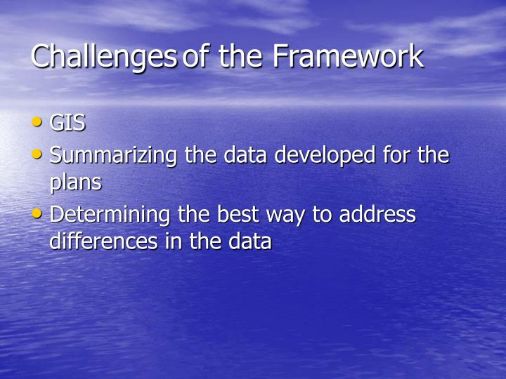 Challenges	of the Framework