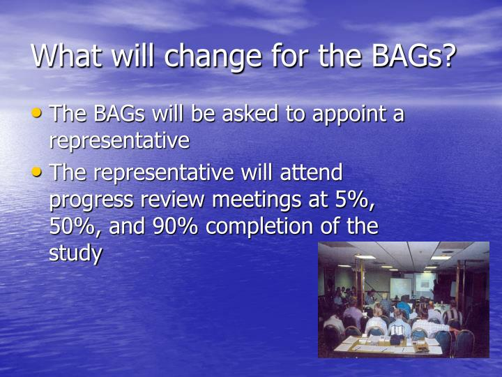 What will change for the BAGs?