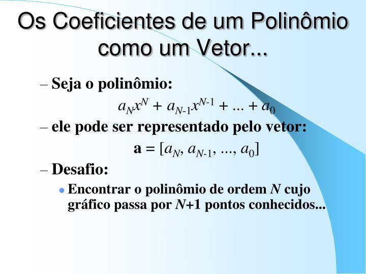Os Coeficientes de um Polinômio como um Vetor...