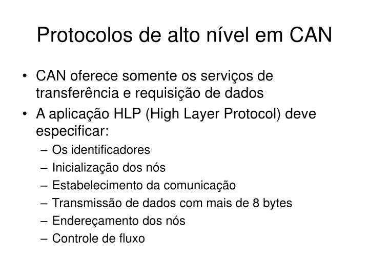 Protocolos de alto nível em CAN