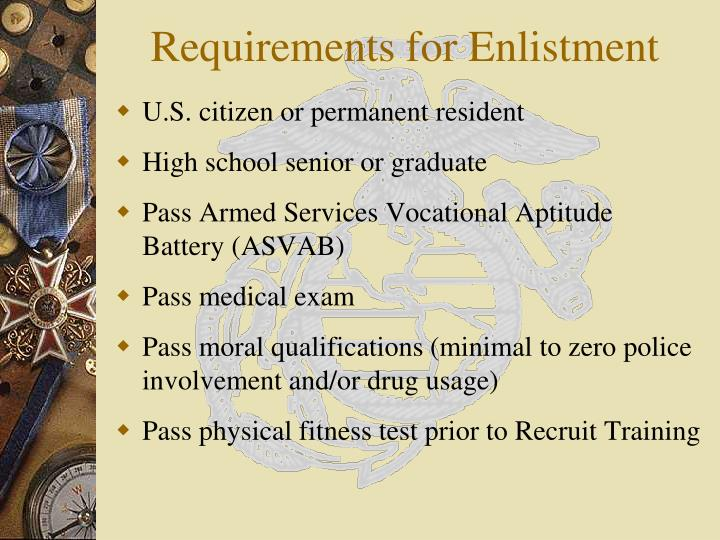 Requirements for Enlistment