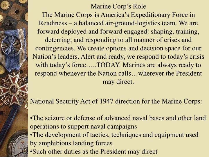 Marine Corp's Role