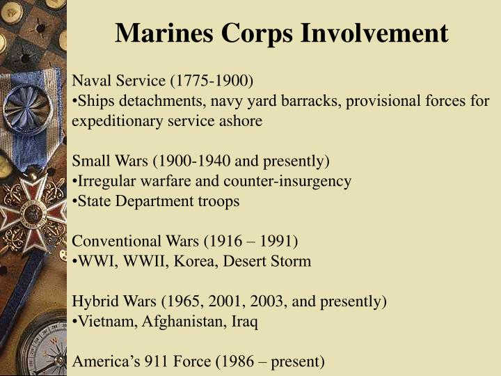 Marines Corps Involvement
