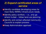 2 expand certificated areas of service
