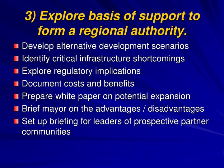 3) Explore basis of support to