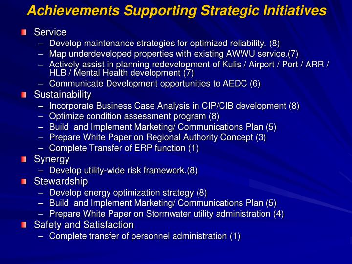 Achievements Supporting Strategic Initiatives
