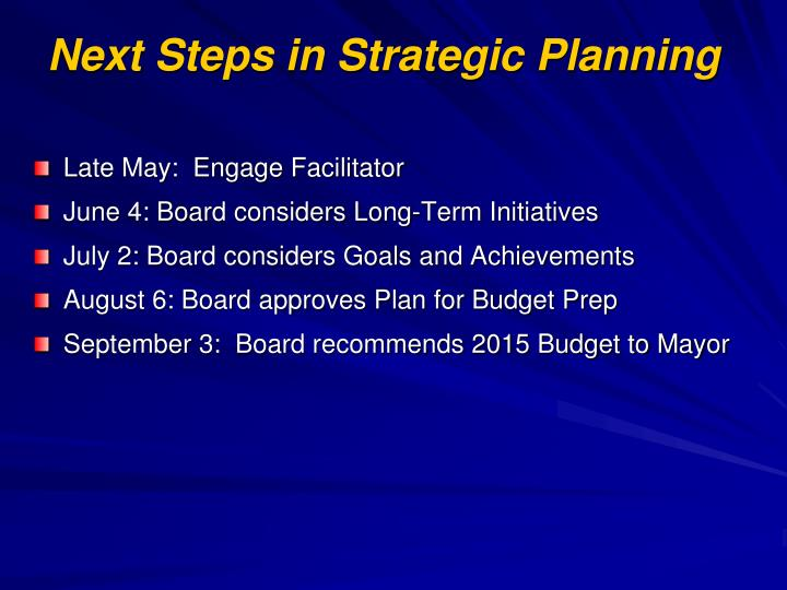 Next Steps in Strategic Planning