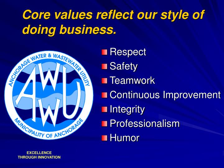 Core values reflect our style of doing business.