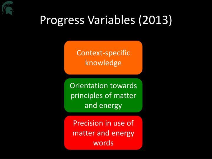 Progress Variables (2013)