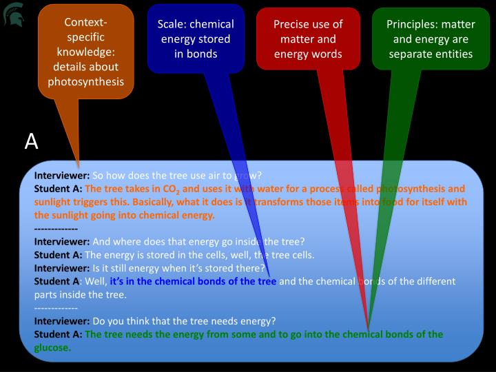 Context-specific knowledge:  details about photosynthesis