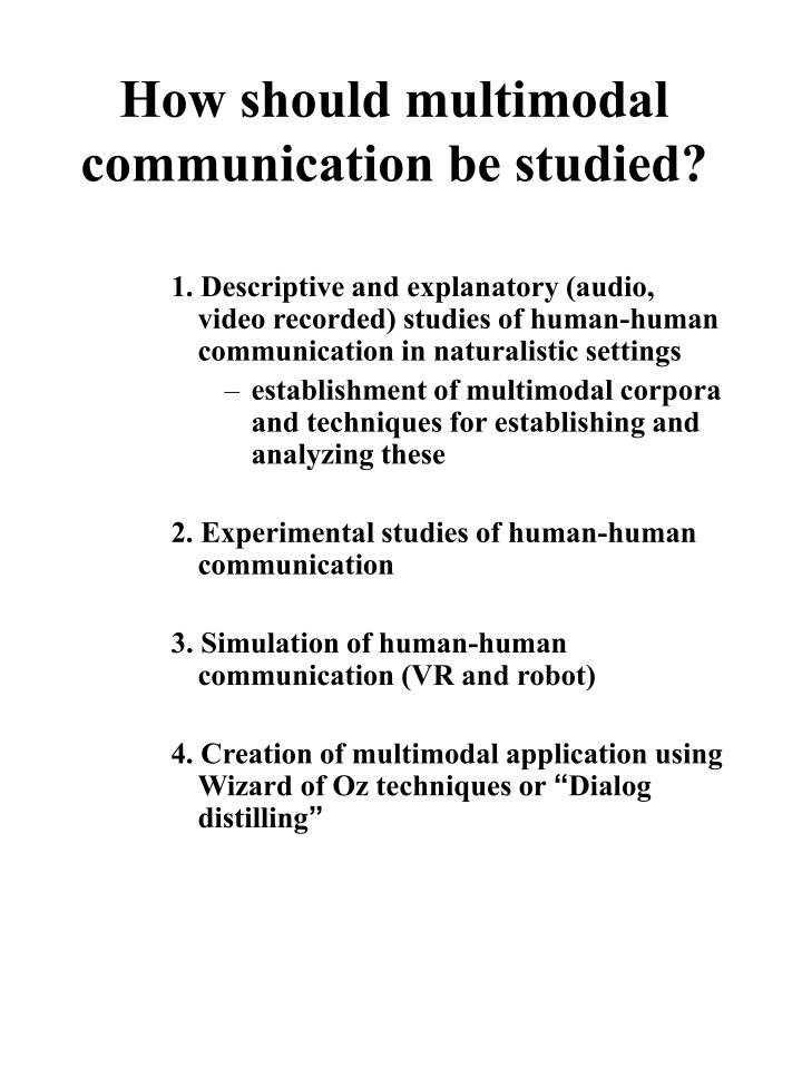 How should multimodal communication be studied?
