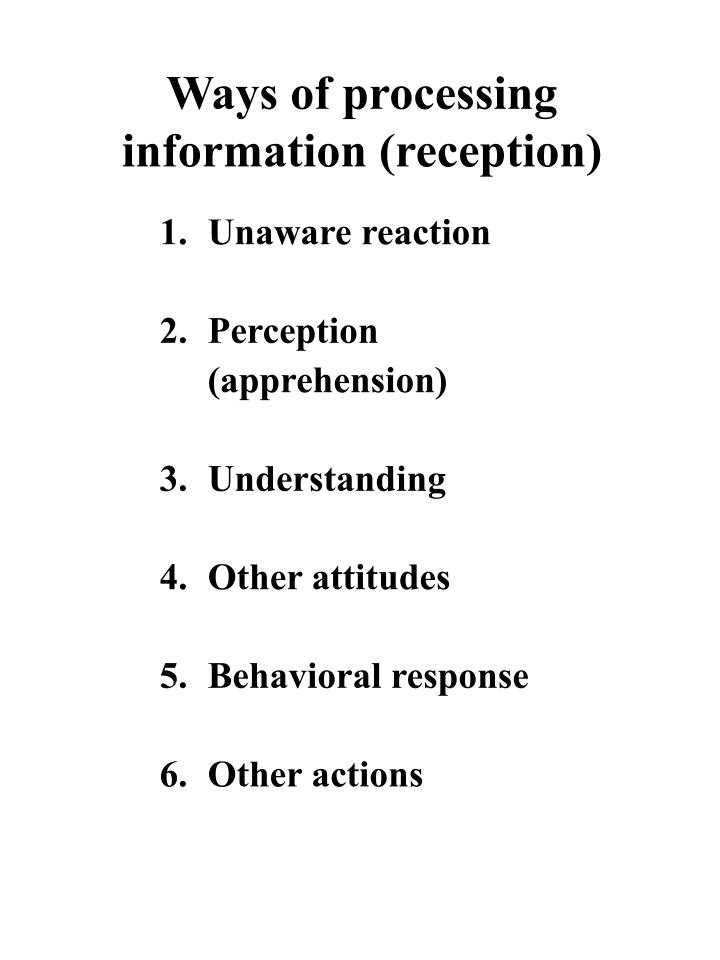 Ways of processing information (reception)