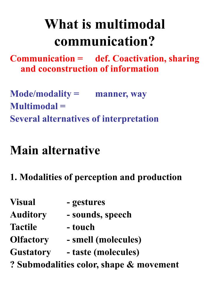 What is multimodal communication?