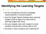 identifying the learning targets