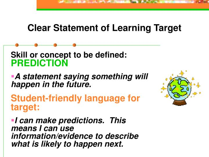 Clear Statement of Learning Target