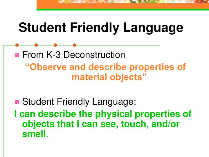 Student Friendly Language