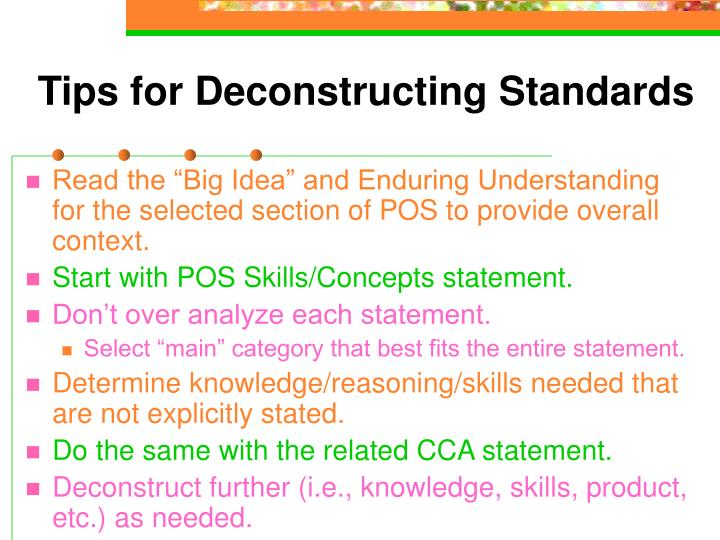 Tips for Deconstructing Standards