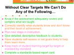 without clear targets we can t do any of the following