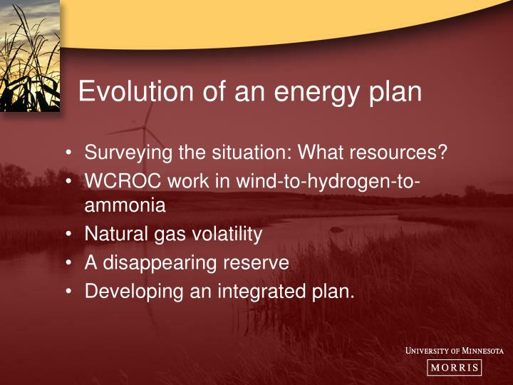 Evolution of an energy plan