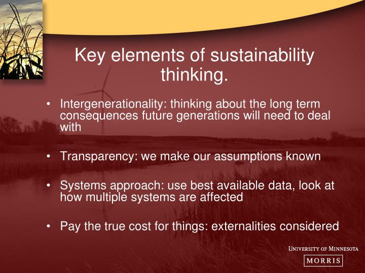 Key elements of sustainability thinking.