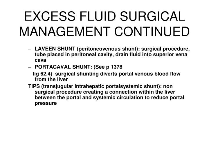 EXCESS FLUID SURGICAL MANAGEMENT CONTINUED