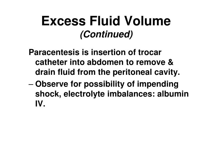 Excess Fluid Volume