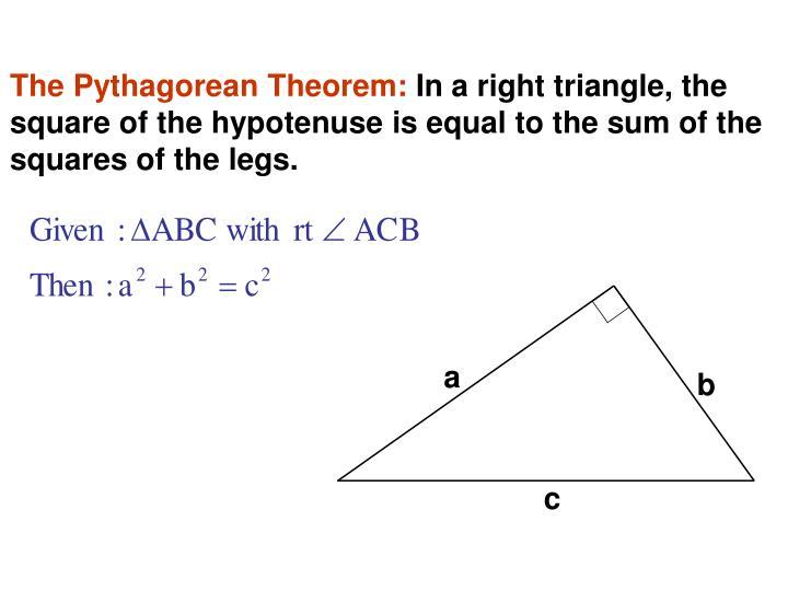 The Pythagorean Theorem: