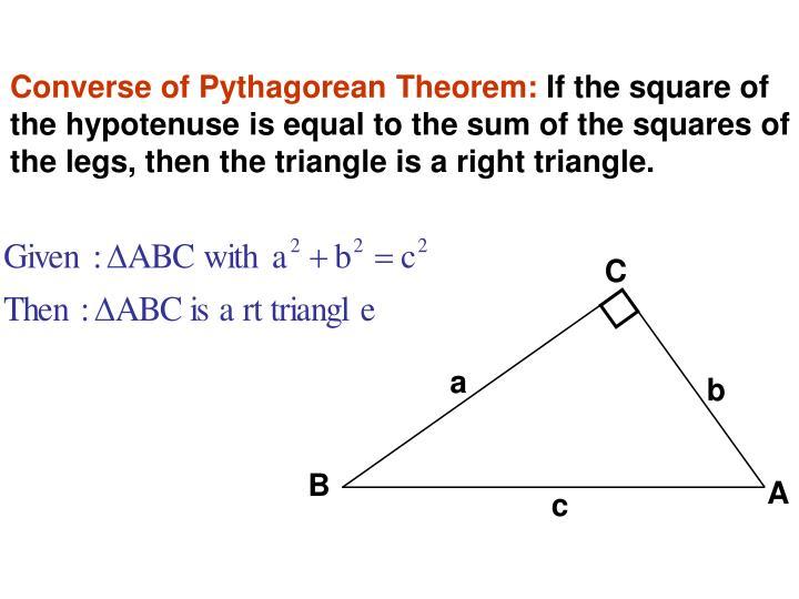 Converse of Pythagorean Theorem: