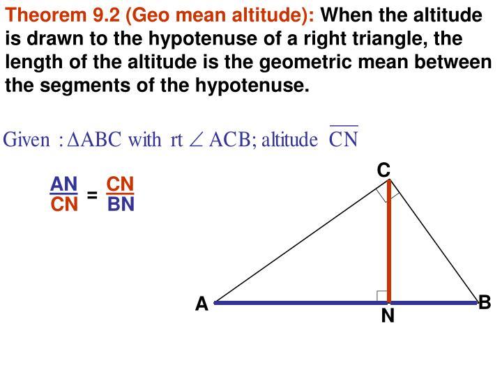 Theorem 9.2 (Geo mean altitude):