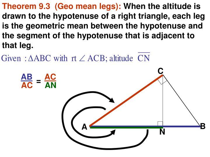 Theorem 9.3  (Geo mean legs):