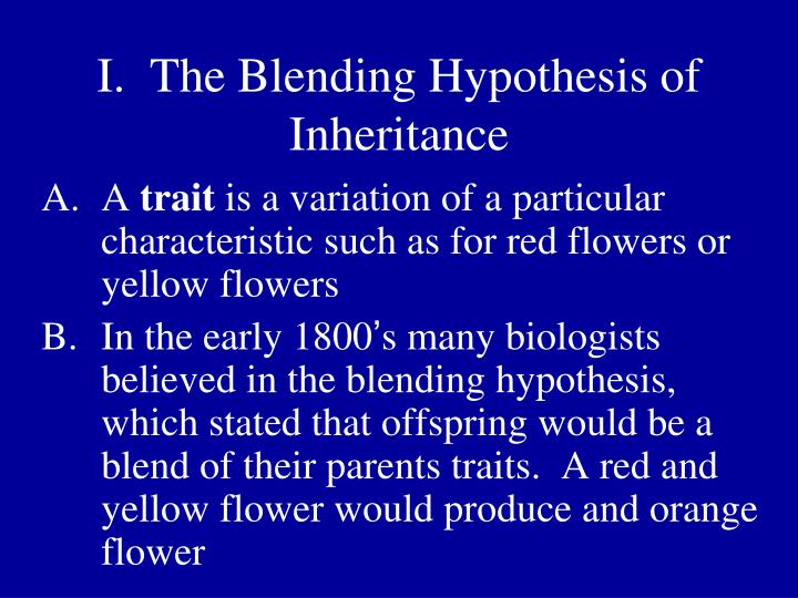 I the blending hypothesis of inheritance