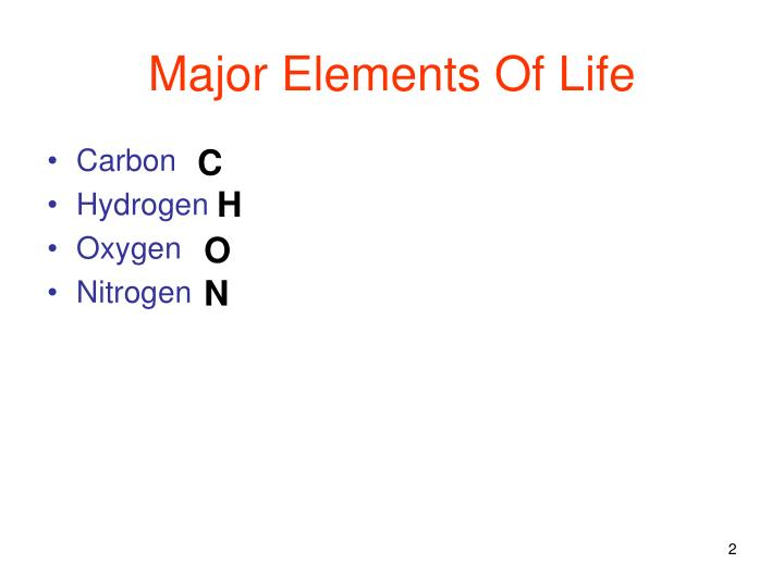 Major elements of life