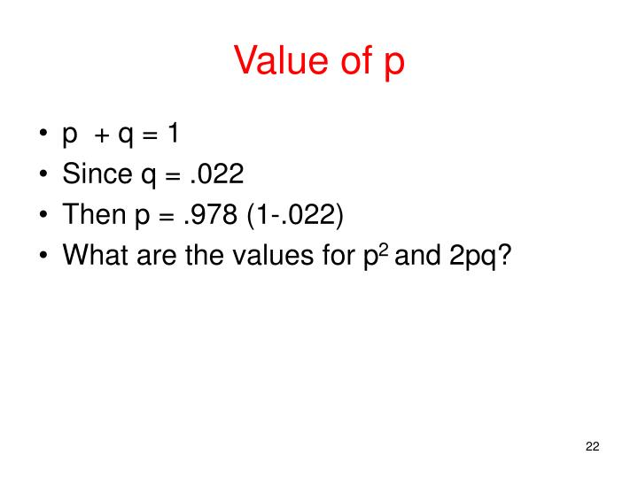 Value of p