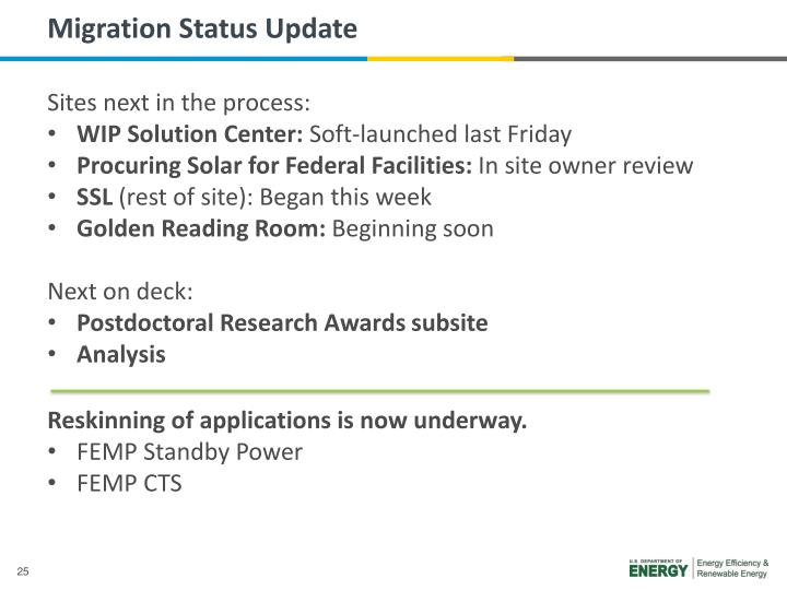 Migration Status Update