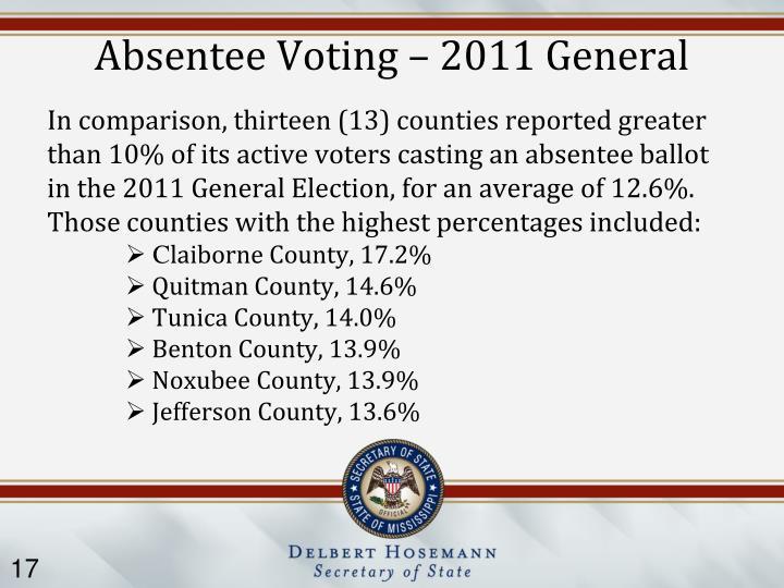 Absentee Voting – 2011 General