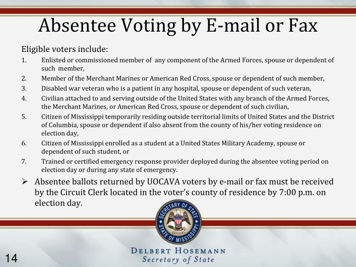 Absentee Voting by E-mail or Fax