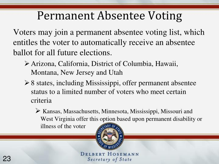 Permanent Absentee Voting
